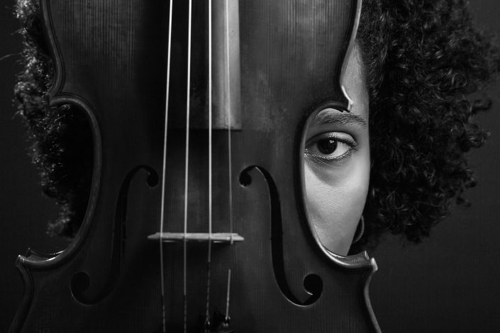 Portrait of a girl with a cello, BW Belle Imaging Portrait Photographer London