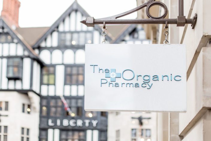The Organic Pharmacy interior shop sign