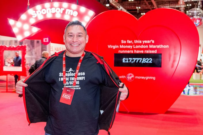 Virgin Money London Marathon – Excel - happy participant – branding – Belle Imaging Event Photographer London