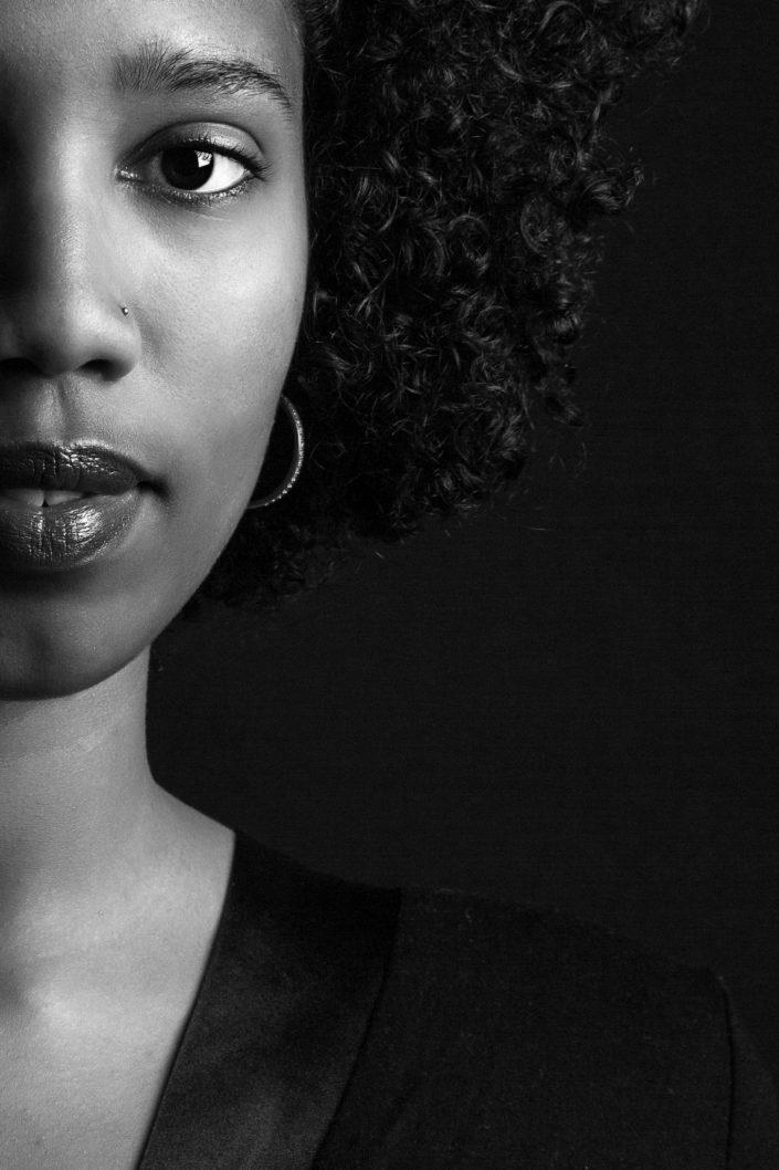 BW Portrait of a young woman Belle Imaging by Renata Boruch Creative Portrait Photographer London